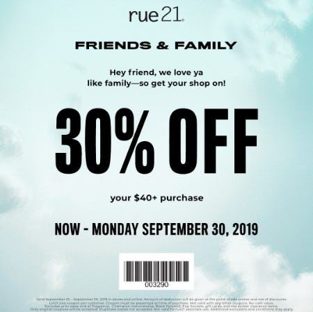 image regarding Rue 21 Coupons Printable identify Good friends and Relatives Coupon! at rue21 The Parks Shopping mall at
