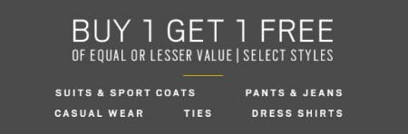 Buy 1 Get 1 Free from Men's Wearhouse and Tux