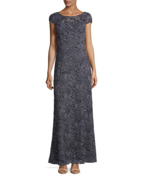 Adrianna Papell Beaded Lace Illusion Gown from Lord & Taylor