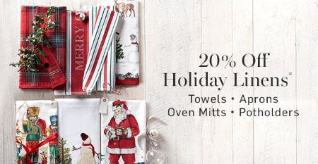 20% Off Holiday Linens from Williams-Sonoma