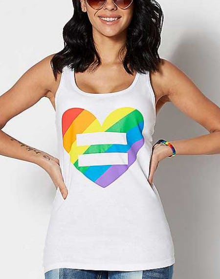 Rainbow Heart Equality Tank Top from Spencer's Gifts