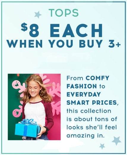 $8 Justice Everyday Faves Tops When You Buy 3 or More from Justice