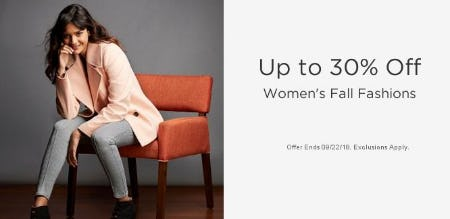 Up to 30% Off Women's Fall Fashions