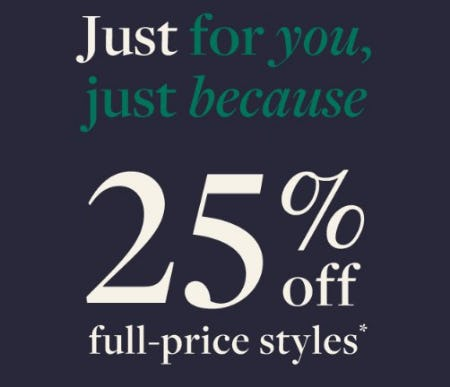 25% Off Full-Price Styles from J.Crew
