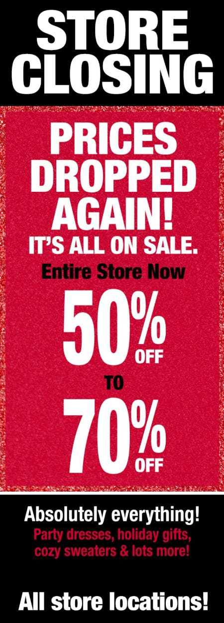 Store Closing: 50-70% Off Entire Store