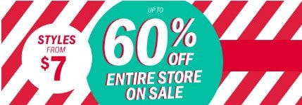 Up to 60% Off Entire Store on Sale