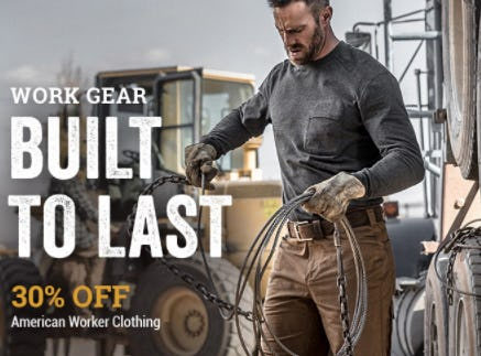 30% Off All American Worker Clothing from Boot Barn Western And Work Wear