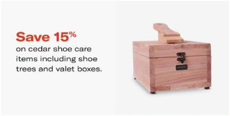 15% Off Cedar Shoe Care Items