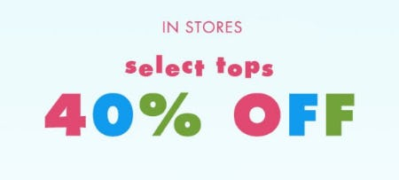 40% Off Select Tops from Justice