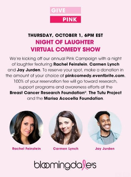 Night of Laughter Virtual Comedy Show from Bloomingdale's