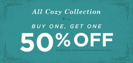 BOGO 50% Off All Cozy Collection from Earthbound Trading Company