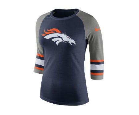 Denver Broncos Nike NFL Women's Stripe Raglan Triblend T-Shirt