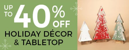 Up to 40% Off on Holiday Decor & Tabletop from Stein Mart