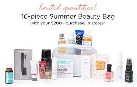 16-Piece Summer Beauty Bag with your $200+ Purchase from Blue Mercury