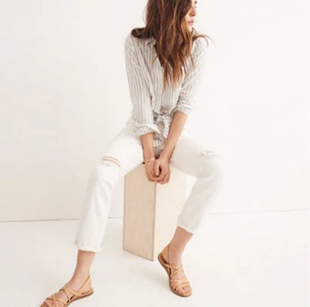 The High-Rise Slim Boyjean In Tile White