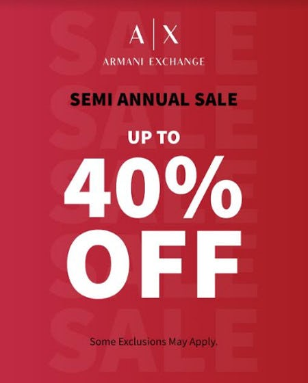 A X Armani Exchange Semi Annual Sale from A X Armani Exchange