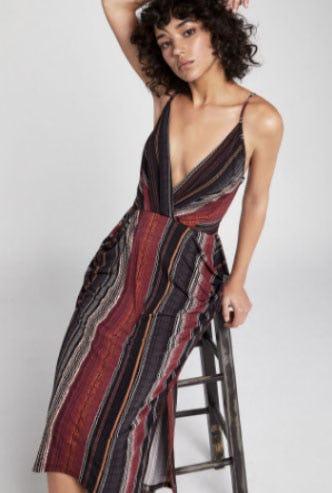 Wavy Stripe Faux-Wrap Midi Dress