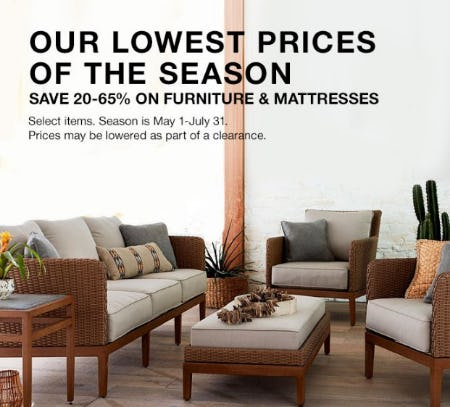 Save 20-65% on Furniture & Mattresses