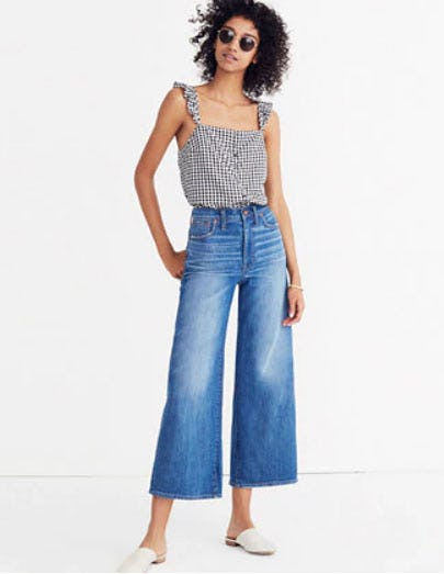 Wide-Leg Crop Jeans in Finney Wash