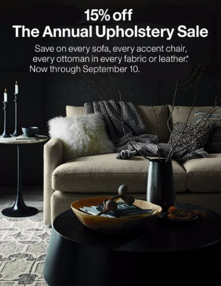 15% Off The Annual Upholstery Sale