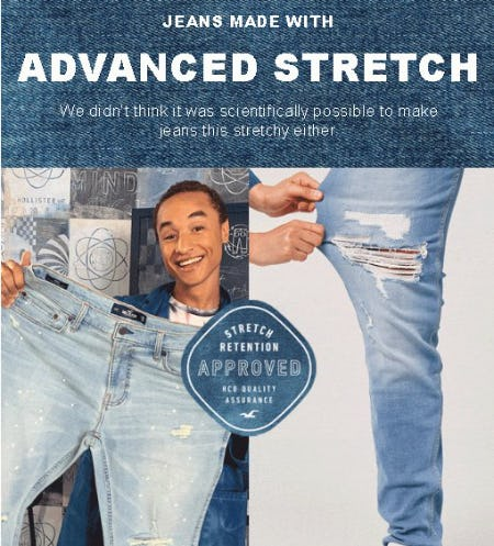 Guys Advanced Stretch Jeans from Hollister Co.