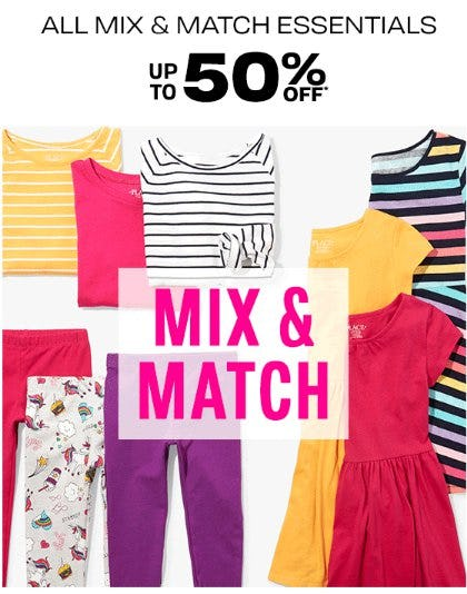 All Mix & Match Essentials up to 50% Off from The Children's Place