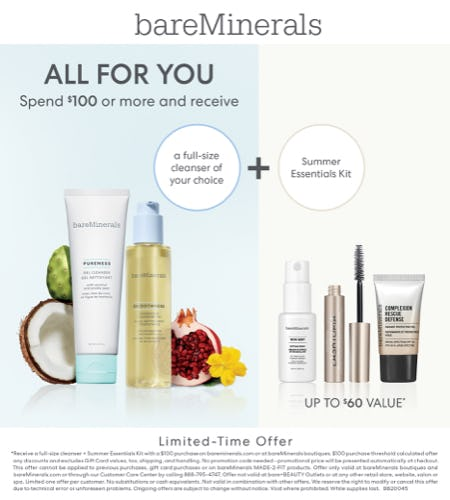 Receive a Full Size Cleanser of Choice and a Mini Favorites Sampler with a $100 Purchase from bareMinerals