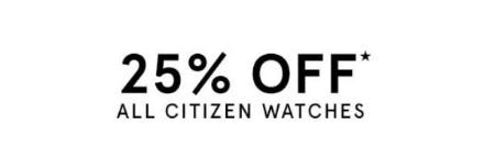 25% Off All Citizen Watches