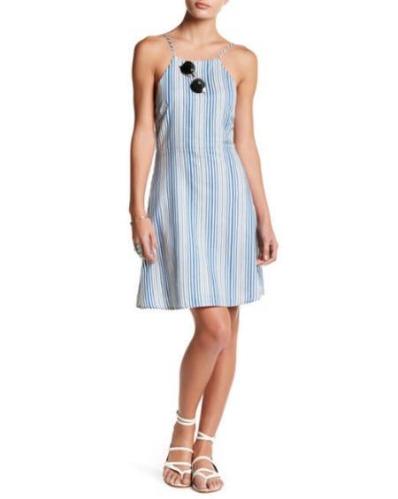 Lush High Neck Striped Dress
