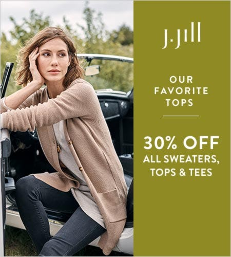 30% off* All Sweaters, Tops, & Tees
