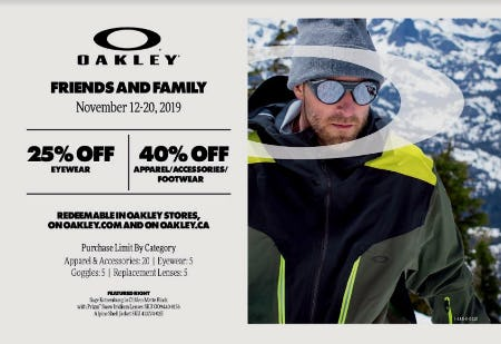 Oakley Friends and Family Event from Oakley