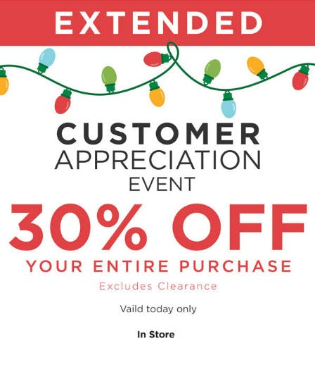 30% Off Customer Appreciation Event from Kirkland's