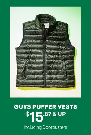 $15.87 & Up Guys Puffer Vests