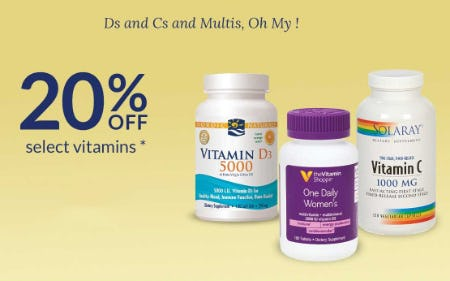 20% Off Select Vitamins from The Vitamin Shoppe