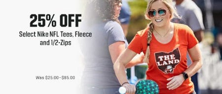 25% Off Select Nike NFL Tees, Fleece and 1/2-Zips from Dick's Sporting Goods