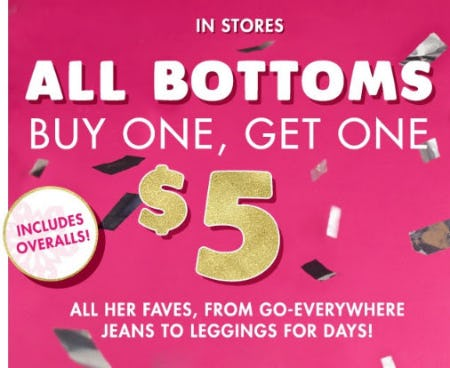 BOGO $5 All Bottoms from Justice
