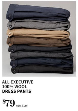 $79 All Executive 100% Wool Dress Pants from Jos. A. Bank