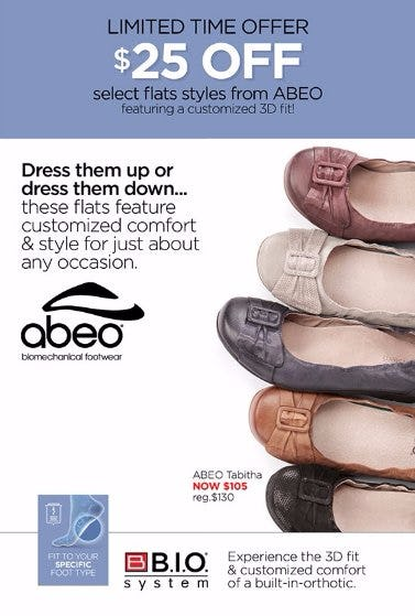 $25 Off Select ABEO Flats