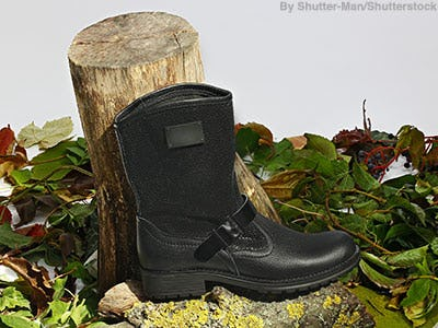 Black moto boots with buckle detail.