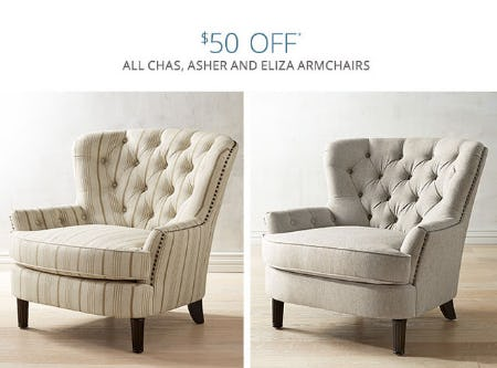 $50 Off All Chas, Asher U0026 Eliza Armchairs
