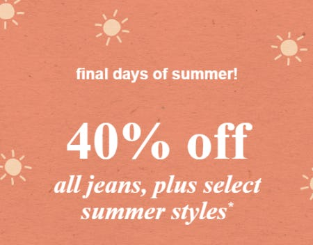 40% Off All Jeans, Plus Select Summer Styles from Abercrombie Kids