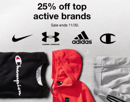 25% Off Top Active Brands from macy's