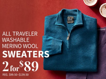 All Traveler Washable Merino Wool Sweaters 2 for $89 from Jos. A. Bank