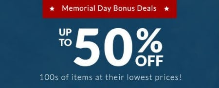 Memorial Day Bonus Deals up to 50% Off from Pb Teen