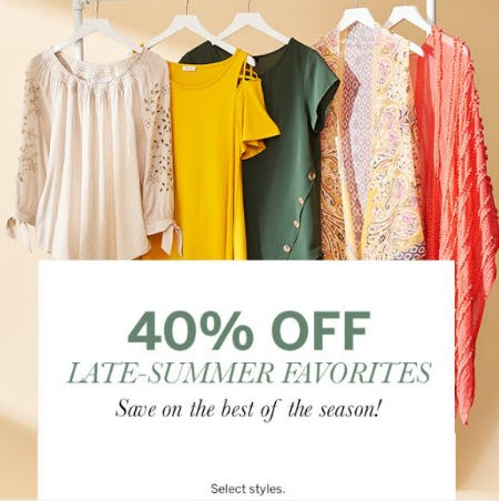 40% Off Late-Summer Favorites from Dress Barn, Misses And Woman