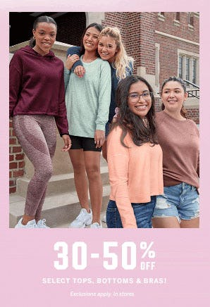 30-50% Off Select Tops, Bottoms & Bras