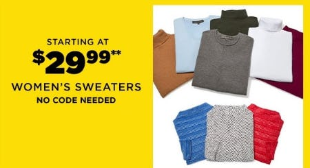 Starting at $29.99 Women's Sweaters from Lord & Taylor