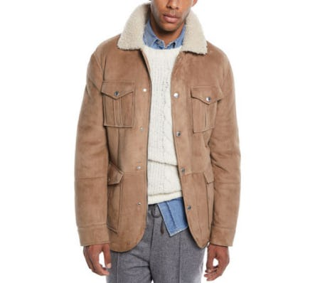 Men's Fur-Lined Suede Safari Jacket from Neiman Marcus