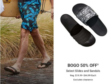 BOGO 50% Off Select Slides and Sandals