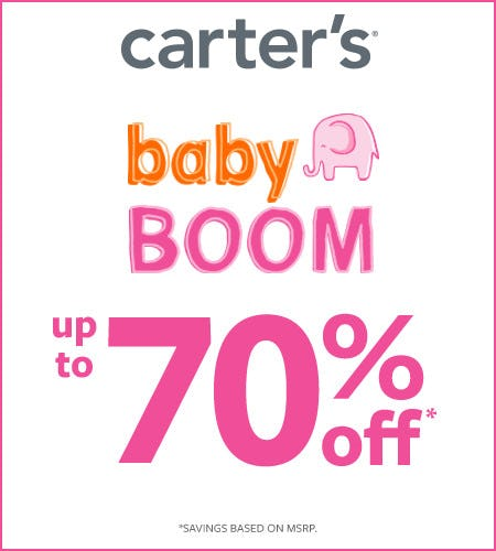 Baby Boom Up to 70% Off* from Carter's Oshkosh